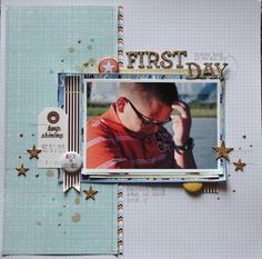 First Day by Mary-Ann at @Studio_Calico. Love the stitched lines.