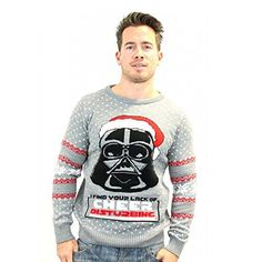 Star Wars Darth Vader Lack of Cheer Disturbing Mens Christmas Sweater Jumper Xmas Jumpers, Knitted Christmas Jumpers, Christmas Knitting, Christmas Sweaters, Christmas Shirts, Star Wars Christmas Sweater, Darth Vader Christmas, Sweat Shirt, Ugly Sweater