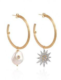 Celestial Star & Pearl Hoops