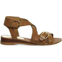 OFFICE Boulevard leather wedge sandals (£48) ❤ liked on Polyvore featuring shoes, sandals, tan leather, leather wedge shoes, wedge sandals, low heel wedge shoes, leather shoes and wedge heel sandals