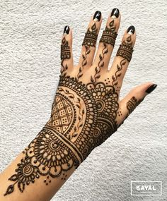 Henna tattoo hand by Ḵayāl henna studio. Instagram & Facebook: @kayalhennastudio