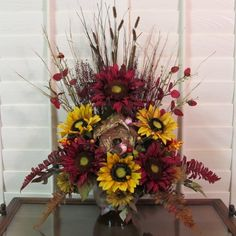 Tuscan Primitive Natural Silk Flower Arrangement Floral Rustic Birdhouse