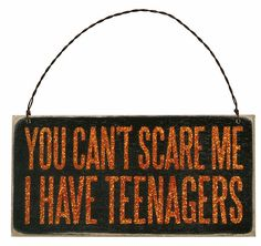 Halloween Sign Ornament Can't Scare Me I Have Teenagers Primitives by Kathy #PrimitivesByKathy #RusticPrimitive Halloween Party Costumes, Halloween Signs, Holidays Halloween, Halloween Crafts, Halloween Decorations, Orange Glitter, 1st Anniversary, Box Signs, Hanging Signs