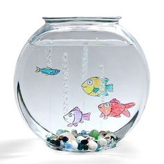 Make Floating Faux Fish: Create a tropical fishbowl full of finny friends that don't need food, filters, or fussy temperature controls. Fun Arts And Crafts, Fun Crafts, Crafts For Kids, Simple Crafts, Fishbowl Craft, Projects For Kids, Craft Projects, Craft Ideas, Easy Projects
