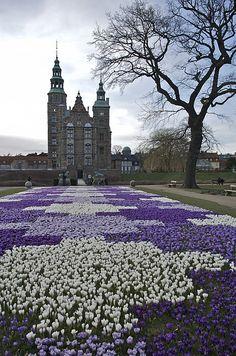 """""""Crocus blooms in front of Rosenborg Slot Castle and Rosenborg Have Garden - Copenhagen, Denmark""""  by artist Keenpress - 2011  [h4d-162013]"""