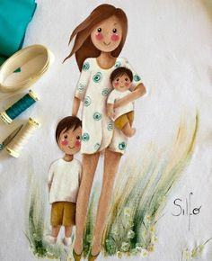by Silfo Baby Painting, Fabric Painting, Cute Girl Drawing, Cute Drawings, Family Illustration, Illustration Art, Mother Art, Baby Boy Pictures, Paper Flowers Craft