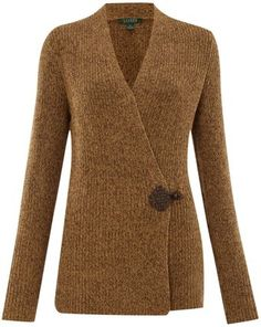long brown vests | ... Lauren Antonin Knitted Vest with Leather Toggle in Brown (tan) | Lyst