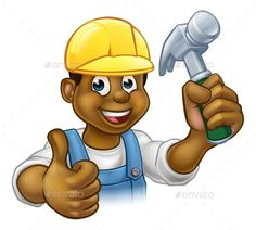Black Handyman Cartoon Character by Krisdog A black handyman carpenter cartoon character in a hard hat holding a hammer and giving a thumbs up