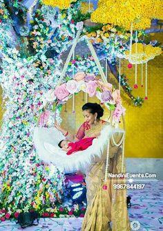"Naming Ceremony Decoration or Cradle Ceremony Decoration planners, organizers, and decorators in Pune. Naming Ceremony is also known as ""Cradle"" and in Marathi ""Barse"" or ""Namkaran Sohala"".Sukanya Events have tremendous naming ceremony decorations. Naming Ceremony Decoration, Marriage Decoration, Wedding Stage Decorations, Baby Shower Decorations, Flower Decorations, Balloon Decorations, Cradle Decoration, Indian Baby Showers, Cradle Ceremony"