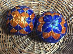 Melinda35 / vianočné patchworkové gule oranžovo-modré so zlatým lemom
