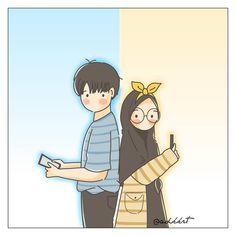 No photo description available. Chibi Couple, Couple Cartoon, Cute Muslim Couples, Cute Anime Couples, Muslim Couple Photography, Cute Love Pictures, Islamic Cartoon, Hijab Cartoon, Islamic Girl