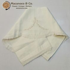 Macanoco and Co.    Cotton blanket with lace trim and embroidered flower detailed.    Make it Personal! Blanket can be personalized with Child's Initials (Max of 3 letters) or with Child's First Name or Nickname (Max of 10 letters).  Monogramming may add two to three days processing time. All our monogramming is done in our store.    Monogramming Instructions: Type text exactly as you would like it to appear on your item in the note section with order. Available characters: upper- and…