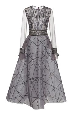 Shop Bead Embroidered A-line Dress. This ** Georges Hobeika** dress features a round neckline, sheer long sleeves, and an A-line ankle length skirt. Grey Maxi Skirts, Sheer Maxi Skirt, Sheer Dress, Gray Maxi, Gray Dress, Sheer Long Sleeve Dress, Short Sleeve Dresses, Dress Long, Long Dresses