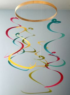 Art Mobile - Long colorful spiral nursery mobile decoration or Home Decor