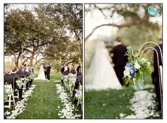 white petals and white chairs - aisle lined with blue and white arrangements on shepherd's hooks