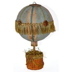 Papier Mache Hot Air Balloon Holiday Ornament Victorian Inspired Christmas Folk Art by Etsy Shop: ivascreations .......................................http://www.etsy.com/listing/85592488/papier-mache-hot-air-balloon-holiday
