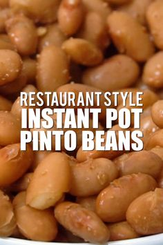 Restaurant Style Instant Pot Pinto Beans are the most delici.- Restaurant Style Instant Pot Pinto Beans are the most delicious, easy way to make delicious pinto beans in under an hour – no soaking overnight needed! Pressure Cooker Beans, Instant Pot Pressure Cooker, Pressure Cooker Recipes, Instant Pot Pinto Beans Recipe, Pinto Bean Recipes, Beans Recipes, Fun Recipes, Healthy Recipes, Salads
