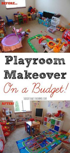 Playroom makeover on a budget!                                                                                                                                                                                 More