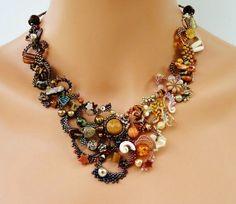 OOAK freeform peyote necklace beadwoven beaded by PeyoteBeadArt