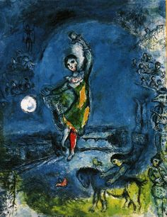 Marc Chagall Le Cirque (Paris), She danced under the moonlight cause it reminded her who she was. Marc Chagall, Artist Chagall, Chagall Paintings, Pablo Picasso, Atelier D Art, Art Textile, Jewish Art, French Artists, Art History