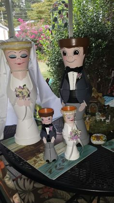 Terracotta pot Bride and Groom
