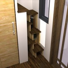 Best stair idea Ive seen so far. tiny house plans nook humble homes 05 The Nook: Really Small And Easy to Tow Tiny House Plans