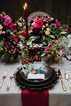 Moody Wedding Tablescape with Red and Purple Flowers: Tuscan Inspired Wedding Styled Shoot from A&L Events and Wanderlust Images featured on Burgh Brides