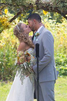 Kiss the bride! Michigan mint farm wedding