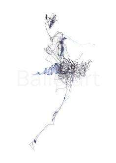 #blue in #ballet  #art #print #wallart #dance abstract #drawing