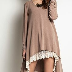 Umgee Long Sleeve Lace Tunic Top by Baretreesboutique on Opensky Fat Girl Outfits, Cute Outfits, Fashion Outfits, Fashion Ideas, Lace Sweater, Lace Tunic, Fall Winter Outfits, Autumn Winter Fashion, Hi Low Dresses