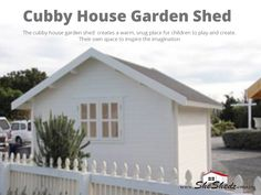 Cubby House Garden Shed The wooden kitset garden sheds come with full instructions showing step by step photographs and all parts required to put them together including treated ground bearers, screws, nails, sealant, door and keys. View Now>> https://goo.gl/kD2A1O #WoodenShed #GardenSheds #GardenShedsAu #SheShedz #ShabbyChic #Cubbyhouse