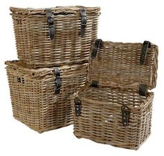 Medium lidded wicker baskets