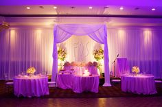 Gorgeous Head table: Sweetheart Table with individual tables for the wedding party | Wedding Decor Toronto