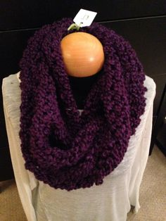 Handmade knit infinity winter scarf - Grape. By: Scarves by Chelsey #knit #infinity #scarf #handmade #scarves #winter #warm #fashion www.facebook.com/scarvesbychelsey Check us out on Etsy!