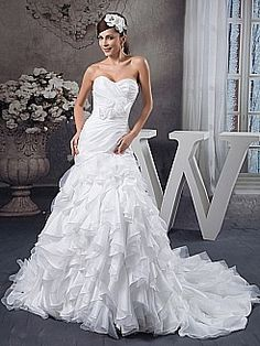 Strapless Mermaid Wedding Dress with Allover Tier Skirt - USD $305.99