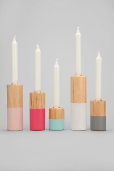 Dip-Dye Candlestick Holder - Set Of 5