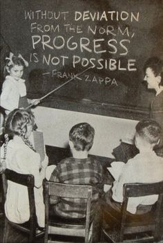 Without DEVIATION  From the NORM  PROGRESS  is NOT POSSIBLE.  Frank Zappa    .....and Never Forget it ;)