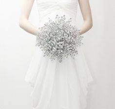 Bridal Bouquet - Luxe sized Bouquet of Beautiful Silver Mirrored Beads - Wedding Bouquet - Fabulous Brooch Bouquet Alternative by BridalBouquetsbyKy on Etsy https://www.etsy.com/listing/159926298/bridal-bouquet-luxe-sized-bouquet-of