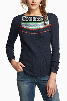 Fairisle Ribbed Sweater #anthropologie, so pretty, if only I had endless amounts of money...