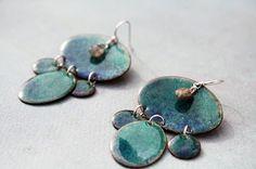 Make and take home these enameled earrings! #Green #Blue