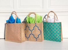 Burlap Stenciled Totes by 2happygrlzdesign on Etsy, $20.00 LOVE THIS SHOP!!