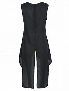 Shop Black Wrap Front Back Split Hi-lo Longline Vest Dress from choies.com .Free shipping Worldwide.$14.9