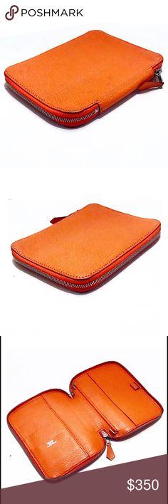 Authentic Hermes Orange Globe Trotter Agenda Authentic Hermes Orange Clemence Leather Zip Around Agenda/Includes Hermes Storage Box/Blind Stamp:◽️J(2006)/Made in France Hermes Accessories