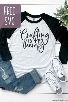Free 'Crafting is My Therapy' SVG Cut File - Cutting for Business Free 'Crafting is my therapy' SVG cut file for Silhouette Portrait or Cameo and Cricut Explore or Maker. Includes commercial use license. Shirts With Sayings, Mom Shirts, Vinyl Shirts, Freebies, Cricut Creations, Mason Jar Diy, Svg Files For Cricut, How To Make Paper, Silhouette Projects