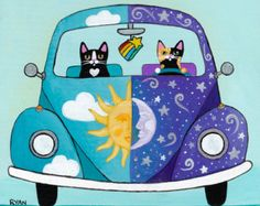 Sunny and Luna Road Trip Whimsical Cat Folk Art by KilkennycatArt Cool Cats, I Love Cats, Art Fantaisiste, Little Buddha, Cat Drawing, Whimsical Art, Here Kitty Kitty, Crazy Cats, Silly Cats