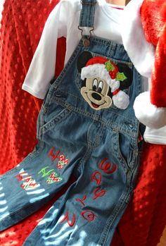 Mickey Mouse Clubhouse, Christmas Holiday Boys Overalls, Boutique Personalized Overalls Outfit by SmashingCupcakes on Etsy