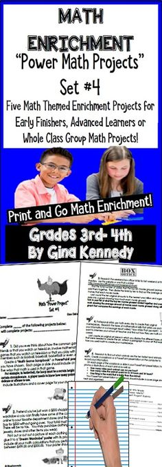 No-Prep, challenging math enrichment projects for 3rd and 4th graders. With this resource, you will find five challenging and fun math enrichment projects that will have students adding up box office hits, looking at art mathematically, researching the fastest animals and much more. The projects cover such mathematical concepts as area & perimeter, measurement, place value and much more for 3rd and 4th graders. The projects are great for advanced learners, early finishers or whole class fun…