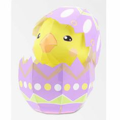 Papercraft imprimible y armable de un huevo de Pascua con un pollito. Manualidades a Raudales.