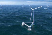 Las turbinas eólicas flotantes, una esperanza para un mayor desarrollo de la energía eólica offshore. Imagen: Principle Power.