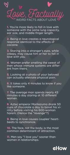 From scientific research to historical tidbits, a list of facts about love, sex, attraction, and romance. facts 11 Facts About Love Psychology Facts About Love, Fun Facts About Love, Psychology Says, Psychology Quotes, Wtf Fun Facts, Facts About Girls, Facts About Humans, Random Facts, Boy Facts